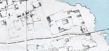Map showing the setting of Sheikh Abdullah bin Jassim's development at feriq al-Salata with the sea