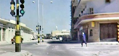 Looking towards the Arab Bank roundabout with the Doha Palace hotel on the right, 1968 – image developed from a video with permission from glasney on YouTube