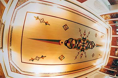 The ceiling of the first floor room in the central building of Sheikh Abdullah's complex