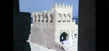 The north gate to the complex of Sheikh Abdullah bin Jassim at feriq al-Salata viewed from the south-west in the 1960s – image developed from a video with permission from glasney on YouTube