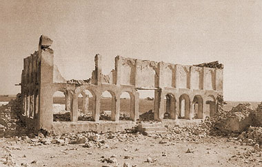 The ruined structure of Sheikh Abdullah's majlis