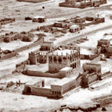 An aerial view from the north-east of part of the complex of Sheikh Abdullah bin Jassim
