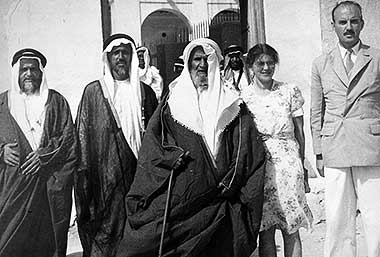 Sheikh Abdullah bin Jassim al Thani with his sons, right to left, Sheikh Ali and Sheikh Hamad, 1946