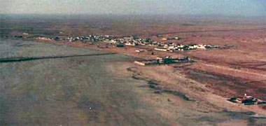 An aerial view, looking south, of Sumaismah in the 1980s