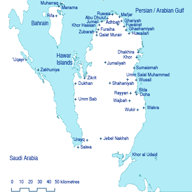 Geographical locations in Qatar. A basic map of Qatar